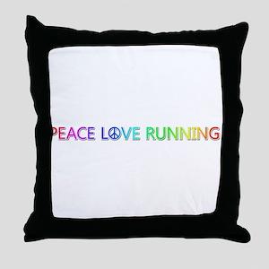Peace Love Running Throw Pillow