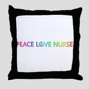 Peace Love Nurse Throw Pillow