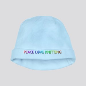 Peace Love Knitting baby hat