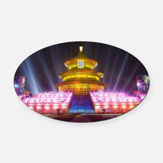 Illuminated Temple of Heaven Red C Oval Car Magnet