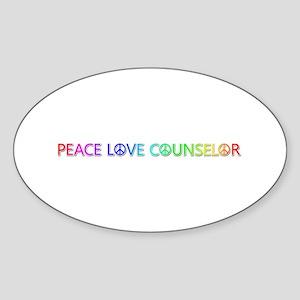 Peace Love Counselor Oval Sticker