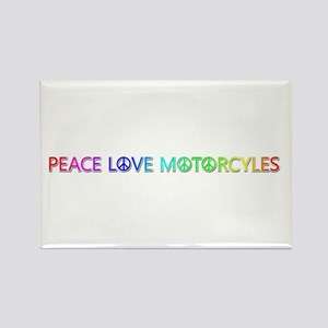 Peace Love Motorcyles Rectangle Magnet