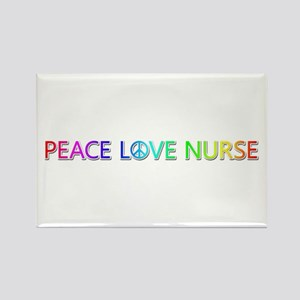 Peace Love Nurse Rectangle Magnet