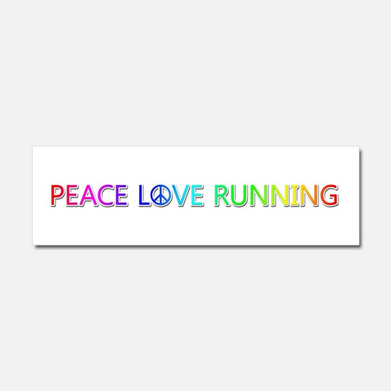 Peace Love Running 10x3 Car Magnet
