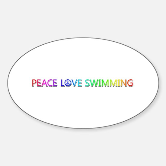 Peace Love Swimming Oval Decal