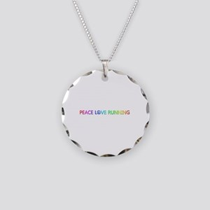 Peace Love Running Necklace Circle Charm