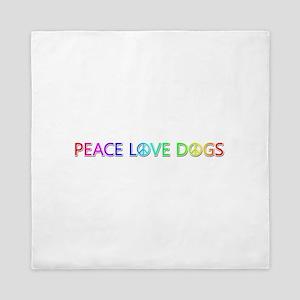 Peace Love Dogs Queen Duvet