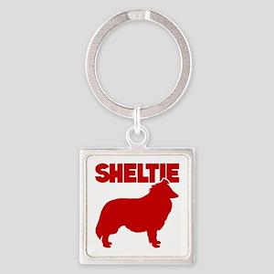SHELTIE Square Keychain