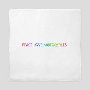 Peace Love Motorcyles Queen Duvet