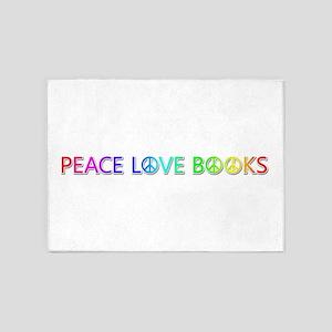Peace Love Books 5'x7' Area Rug