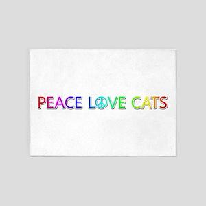 Peace Love Cats 5'x7' Area Rug