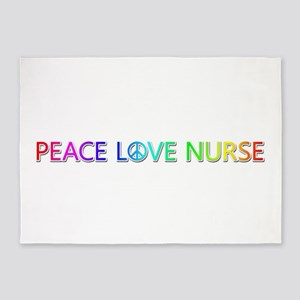 Peace Love Nurse 5'x7' Area Rug