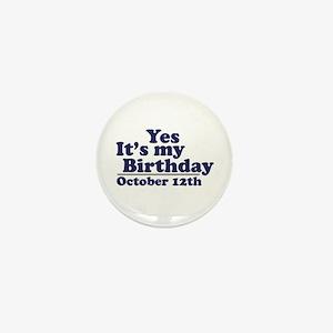 October 12th Birthday Mini Button