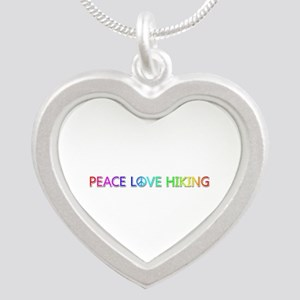 Peace Love Hiking Silver Heart Necklace