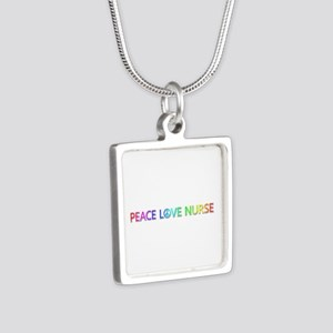 Peace Love Nurse Silver Square Necklace