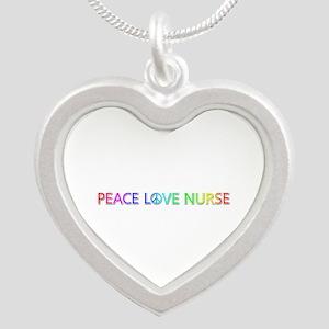 Peace Love Nurse Silver Heart Necklace