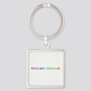Peace Love Counselor Square Keychain