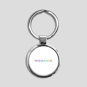 Peace Love Nurse Round Keychain