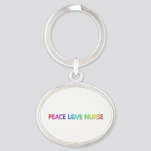 Peace Love Nurse Oval Keychain