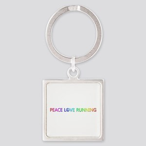 Peace Love Running Square Keychain