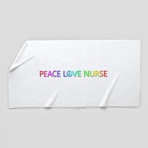 Peace Love Nurse Beach Towel