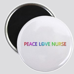 Peace Love Nurse Round Magnet