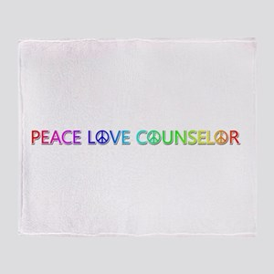 Peace Love Counselor Throw Blanket
