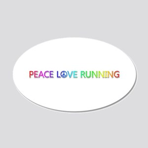 Peace Love Running 20x12 Oval Wall Decal