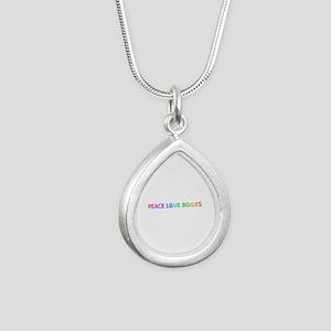 Peace Love Books Silver Teardrop Necklace
