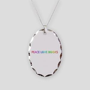 Peace Love Books Oval Necklace