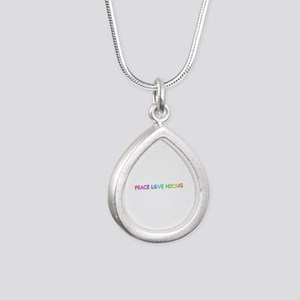 Peace Love Hiking Silver Teardrop Necklace