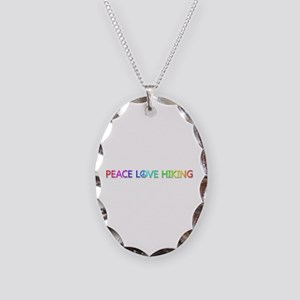 Peace Love Hiking Oval Necklace