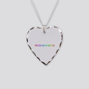 Peace Love Hiking Heart Necklace