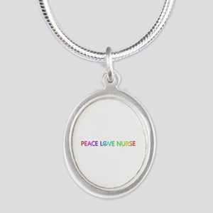 Peace Love Nurse Silver Oval Necklace