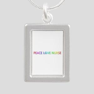 Peace Love Nurse Silver Portrait Necklace