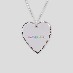Peace Love Nurse Heart Necklace
