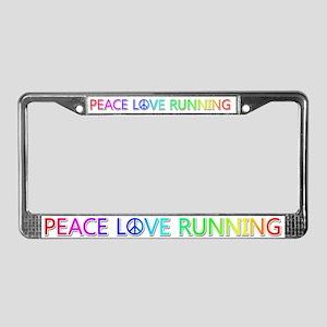 Peace Love Running License Plate Frame