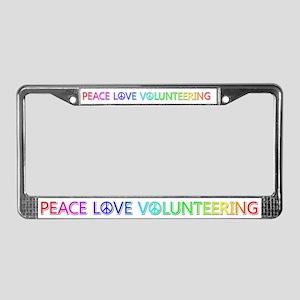 Peace Love Volunteering License Plate Frame