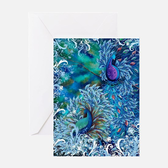 Exotic Birds Peacock Feathers Blue Greeting Cards