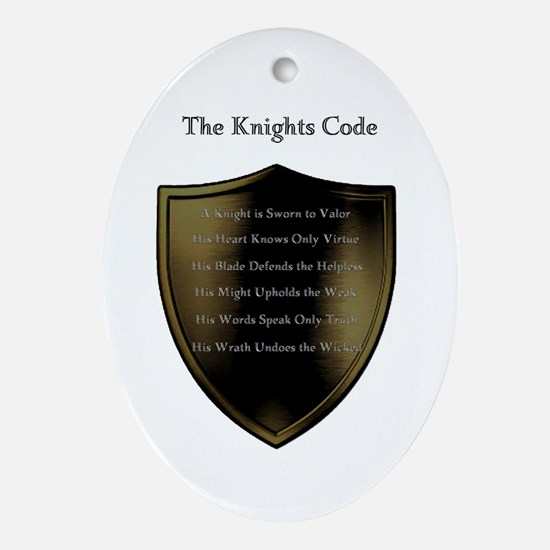 The Knights Code white Oval Ornament