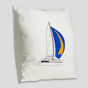 Catamaran Burlap Throw Pillow