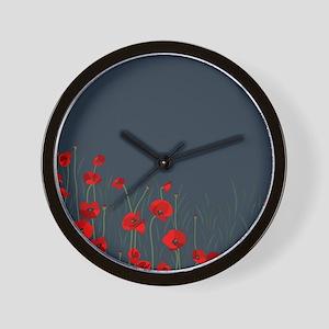 Night, poppies Wall Clock