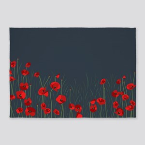 Night, poppies 5'x7'Area Rug