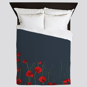Night, poppies Queen Duvet