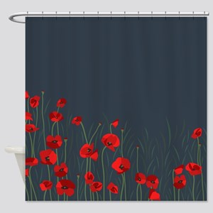 Night Poppies Shower Curtain