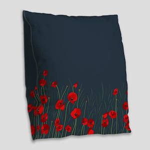 Night, poppies Burlap Throw Pillow