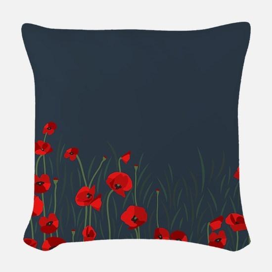 Night, poppies Woven Throw Pillow