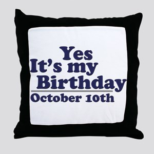 October 10th Birthday Throw Pillow