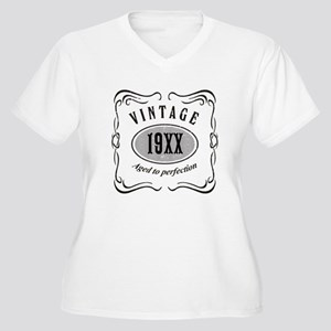 Vintage editable Women's Plus Size V-Neck T-Shirt