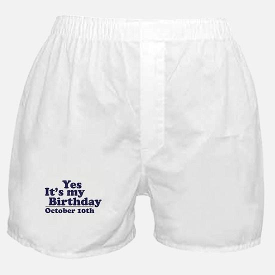 October 10th Birthday Boxer Shorts